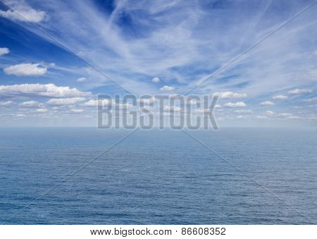 seascape with deap blue ocean waters