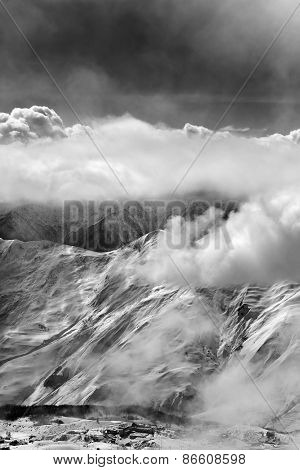 Black And White View On Ski Resort In Mist
