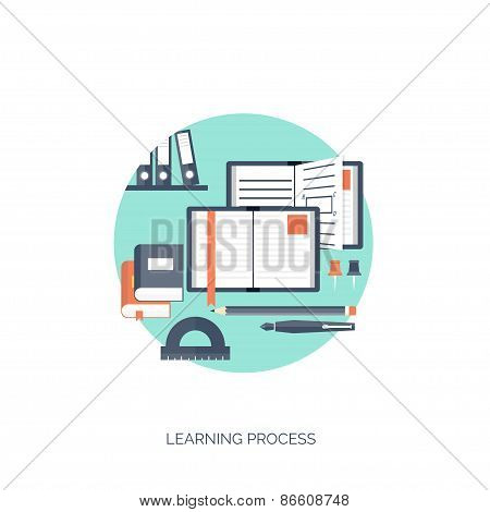 Flat vector illustration. Study and learning concept background. Distance education, brainstorm and