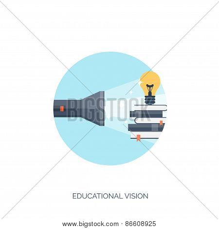 Flat vector illustration. Flashlight and bulb. Study and learning concept background. Distance educa
