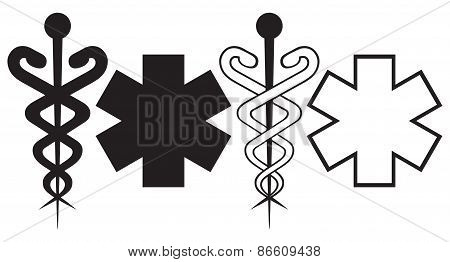 Caduceus. Medical sign
