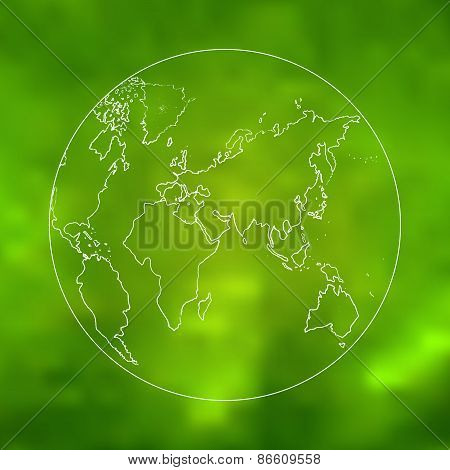 Vector green world map sketch art
