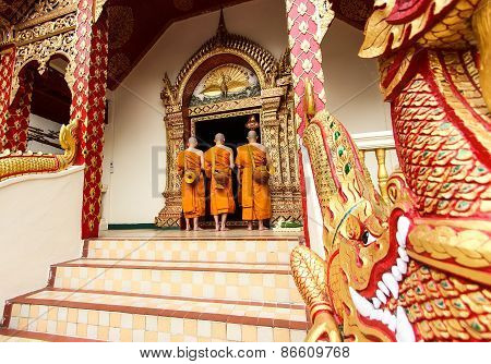 Monks Ordination Ceremony In Buddhism Of Thailand.