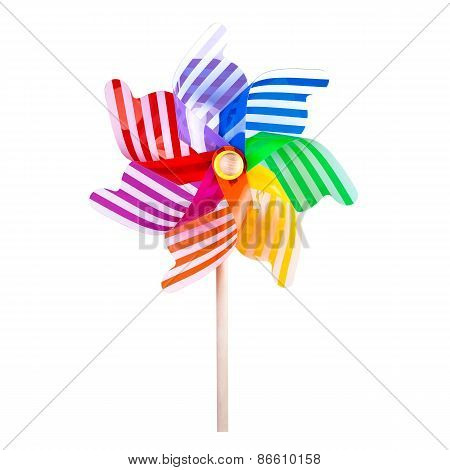 Colorful pinwheel on white background space for copy