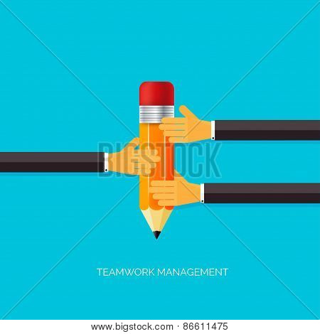 Flat pencil icon in hands. Teamwork management concept. Flat icons. Global communication and working