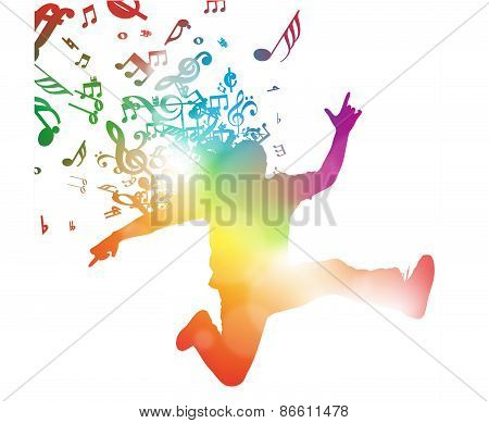 Abstract Jumping Through Musical Notes.