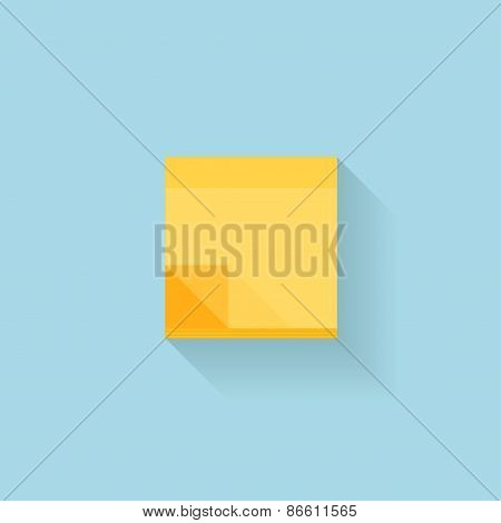 Flat web internet icon. Yellow sticky notes paper.