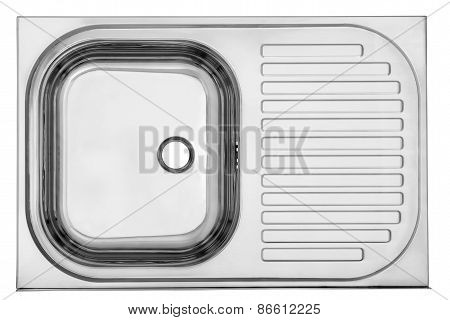 Top View Of The Empty Sink Kitchenware Isolated On White With Clipping Path