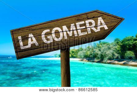 La Gomera sign on the beach