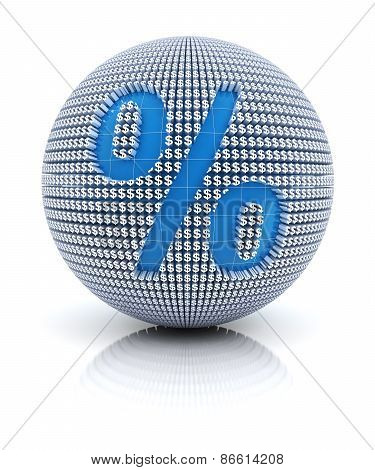 Percentage icon on globe formed by dollar sign