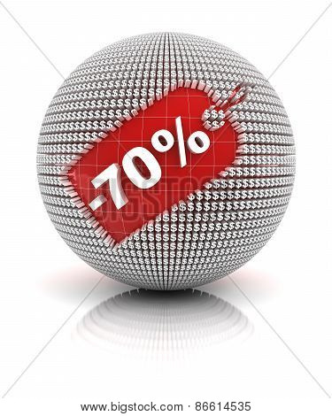 70 percent off sale tag on a sphere