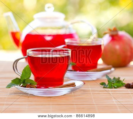 Two cups of hibiscus tea