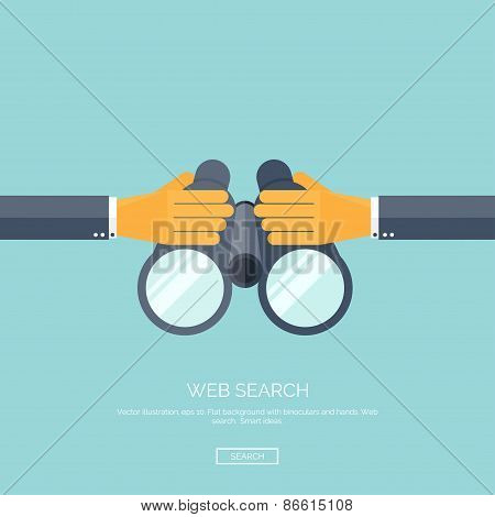 Vector illustration. Flat background with hand and binocular. Web search concept background. Find in