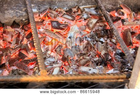 Bbq With Hot Coals For Cooking Meat