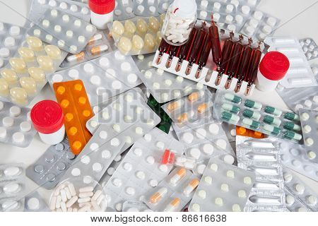 Medication And Drugs Addiction Lot Of Pills And Medication
