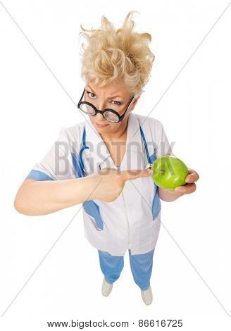 Funny mature doctor with nerd glasses  and apple isolated