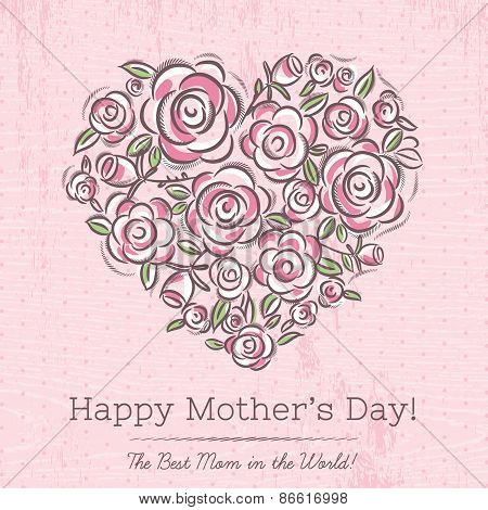Pink Card With Heart Of Spring Flowers For Mother's Day,  Vector