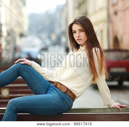 Fashion Portrait Stylish Urban Girl Posing On The Background Old City Street