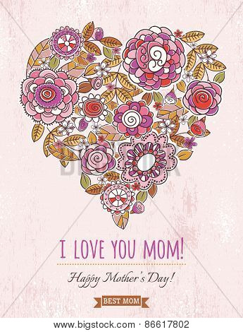 Pink Mothers Day Card With Big Heart Of Spring Flowers,  Vector