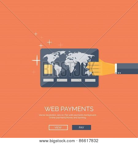 Vector illustration. Flat background with hand and bank card. Online banking. Internet shopping. Web
