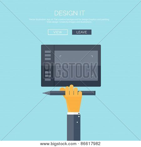 Vector illustration. Flat background with hand and graphic tablet. Web design. Drawing