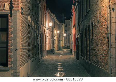 Cityscape with a picturesque night street in Bruges