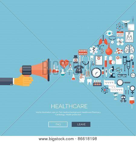 Vector illustration. Flat medical background with loudspeaker. Medicine. Healthcare and medical rese