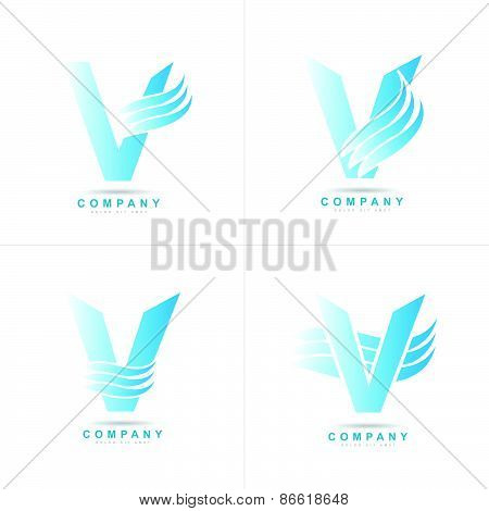 Blue Letter V Logo Corporate Set