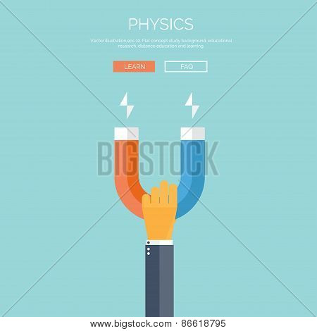 Vector illustration. Flat background with hand and magnet. Physics.