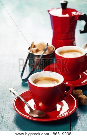 Coffee composition on blue rustic background