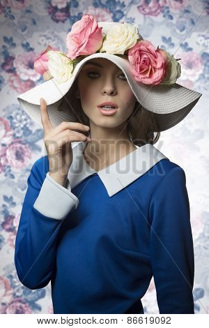 Summer Girl Fashion With Hat. Vintage