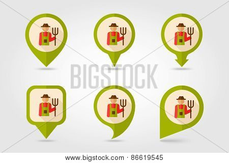 Farmers Flat Mapping Pin Icon With Long Shadow