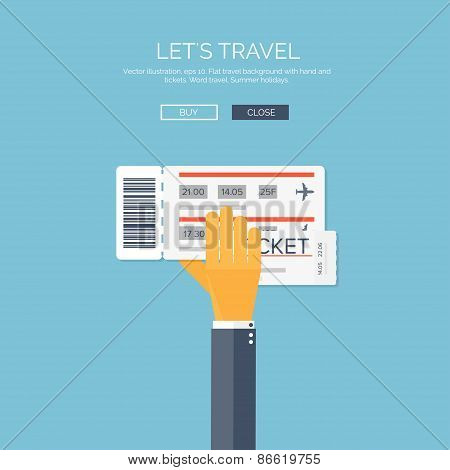 Vector illustration. Flat background with hand and tockets. Travel by plane.