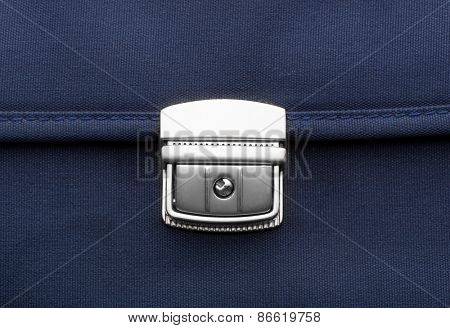 Macro of blue briefcase clip