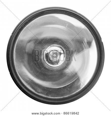 Closeup of flashlight isolated on white