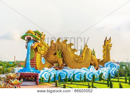 Huge Dragon Statue Background