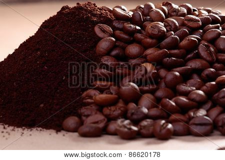 Coffee Beans And Powder