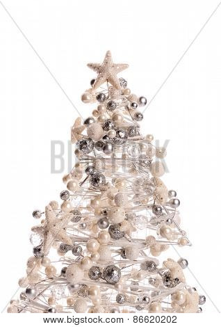 Decorated christmas tree over white