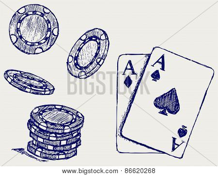 Cards and chip for gambling