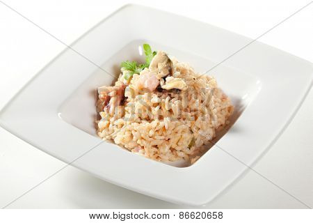 Risotto with Mussels, Octopus and Parsley