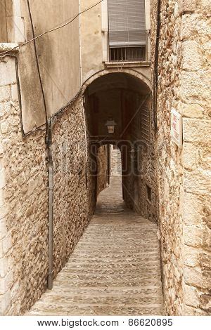 The Narrow Streets Of The Ancient Quarter In Girona