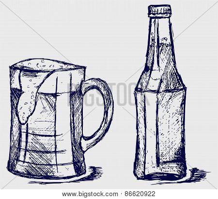 Mug and bottle beer