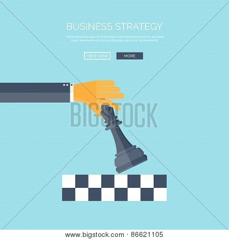 Vector illustration of flat background with hand and chess, business and company strategy. Developme