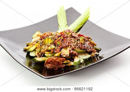 Warm Sweet Beef with Vegetables and Sesame Sauce
