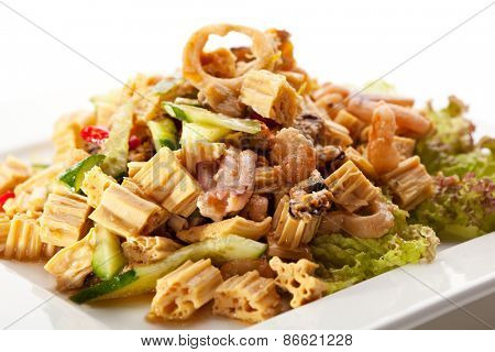 Chinese Tofu Skin Salad with Sauce and Squids
