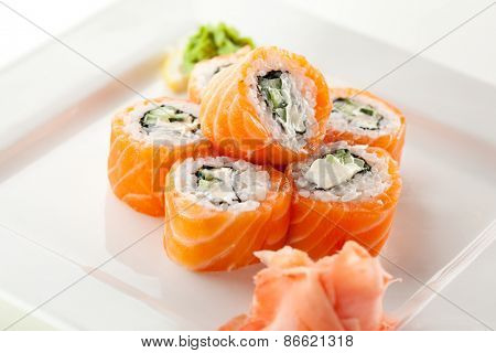 Philadelphia Maki Sushi made of Fresh Raw Salmon, Cream Cheese and Cucumber