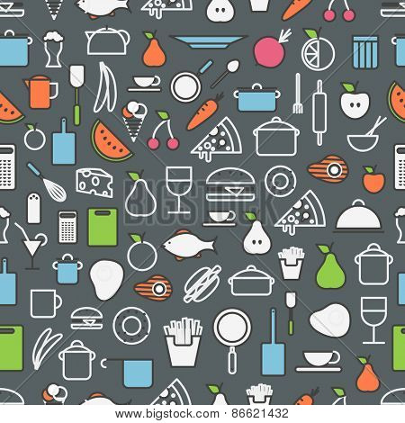 Kitchen tools and meal silhouette icons. Seamless pattern