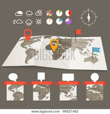 Earth maps set with and charts