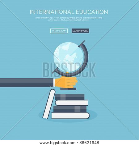 Vector illustration. Concept background with hand, globus and books, global education, online course
