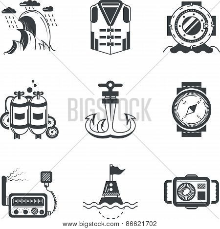 Marine black vector icons